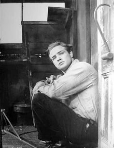 Marlon Brando on the set of ON THE WATERFRONT (1954) of which Brando received and Academy Award for Best Actor.