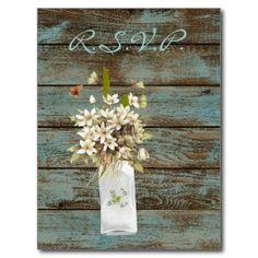 elegant teal barnwood  floral country wedding post card