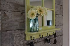 Rustic Country Chic Antique Bronze Key Hook Mirror with Shelf - Distressed Lemon Grass Yellow