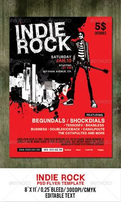 Indie Rock Poster Flyer Template  #GraphicRiver         Poster or Flyer for your rock event!  Font Used  wc roughtrad bta:  .dafont /wc-roughtrad-bta.font  social logos:  .dafont /social-logos.font  bignoodle-titling:  .dafont /bignoodletitling.font                      Created: 9 December 13                    Graphics Files Included:   Photoshop PSD