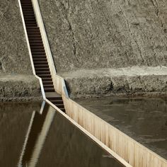 Moses Bridge, West Brabant Water Line, Netherlands design by RO&AD architecten: Holland defence-line consisting of a series of fortresses: Dutch landscape Water Architecture, Interior Architecture, Contemporary Architecture, Bridge Design, Pedestrian Bridge, Rotterdam, Stairways, Landscape Design, Netherlands