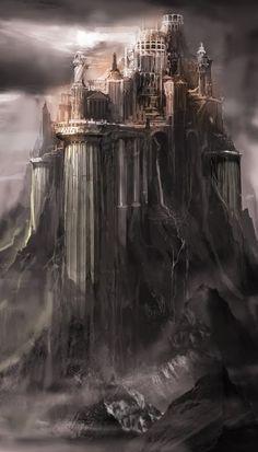 Fantasy city high on a butte. Cecil Kim
