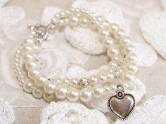 White Pearls Charm bracelet  Pearls beads bracelet  by WEcraft