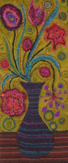 Laura Kenney Rugs: flowers in vase