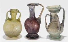 THREE ROMAN GLASS VESSELS   CIRCA 1ST-4TH CENTURY A.D.