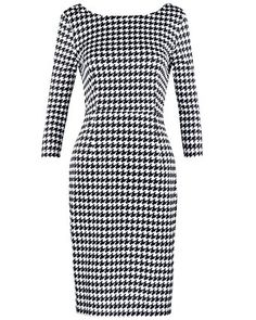OUGES Women's V Neck 3 4 Sleeve Slim Dress. Unique design with black and white plaids soft fabric. It comes in 3 beautiful colorways. Perfect dress for work, party, and daily wear.