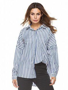 Blue Stripe Tie Back Long Sleeve Shirt
