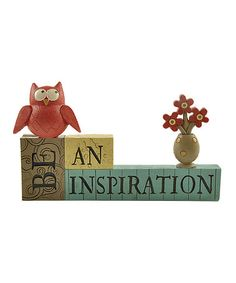Another great find on #zulily! 'Be an Inspiration' Owl Block #zulilyfinds