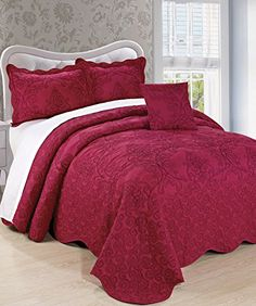 BNF Home Damask 4 Piece Bedspread Set, King, Sangria - READ REVIEW @ http://www.ilikeboutique.com/boutique/bnf-home-damask-4-piece-bedspread-set-king-sangria/?a=8072