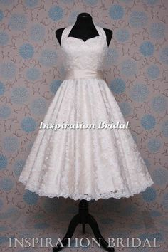 1552 50s 1960s halter neck short champange Tea Length wedding dress £179  50s Style Wedding 291e8e467519