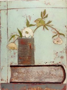 Irish Artist Anji ALLEN-Hellebore and Tin > Irish Art & Artists at Red Rag Gallery.  >>  Familiar items such as scrubbed table top, milk jugs and tea cups are elevated and given a rarity value in Anji's paintings with her careful use of space and texture.
