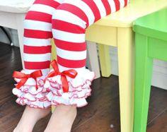 Red & White Stripe Christmas Leggings with White Ruffles / Baby Girls Leggings---NB-18M