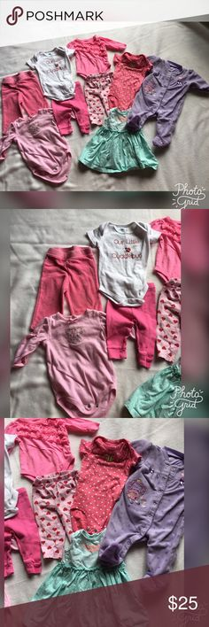 Baby's girl lot! 0-6 months 9 pieces in lot! Some 0-3 3-6 and 6 months! Different brands all worn but in great condition ! Juicy Couture Matching Sets