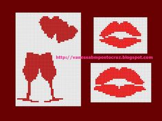 Free Cross Stitch Chart - Hearts, Wine Glasses, and Lips