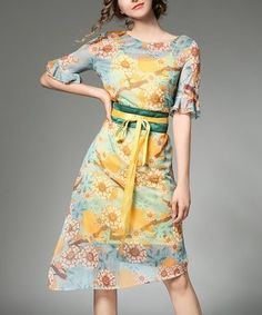 Blue & Yellow Floral Asymmetric-Hem Sheath Dress