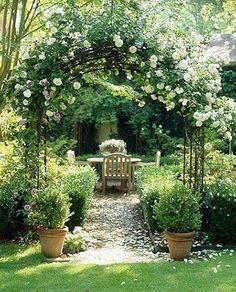 garden space, romantic garden with climbing roses, european garden To be able to have … Rose Garden Design, Cottage Garden Design, Backyard Garden Design, Backyard Landscaping, Landscaping Ideas, Yard Design, Garden Show, Dream Garden, Party Garden