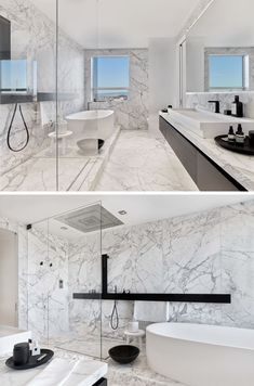 The Glen Park Residence By CCS Architecture This modern master bathroom has floors and walls of carefully selected and matched Carrara marble slabs that are contrasted with dark fixtures to evoke the feeling of being in a spa. Modern Master Bathroom, Modern Bathroom Design, Bathroom Interior Design, Bathroom Designs, Bathroom Colors, Bathroom Sets, Bathroom Fixtures, Marble Tile Bathroom, White Marble Bathrooms
