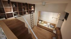 Small measures of the house, far from being a problem, become a challenge for A little design studio. This micro apartment never cease to amaze all eyes. Mini Loft, Plans Loft, Loft Floor Plans, Micro Apartment, Apartment Living, Living Room, Interior Desing, Apartment Interior Design, Apartment Layout