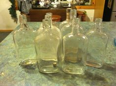 Antique Glass Flask Bottles Lot of 8 One Pint + Warrantied with Side Straps L@@k