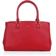 Paul Smith Small Double Zip Tote Bag ($1,020) ❤ liked on Polyvore featuring bags, handbags, tote bags, red leather handbag, purse tote, red leather tote bag, leather tote bags and leather man bag