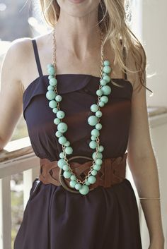 Navy In a Nutshell Dress +  Pops of Turquoise Necklace =   Paizlee Perfection