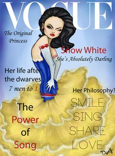 These fashionable Disney princesses heat up Vogue magazine covers!  Illustration by Dante Tyler