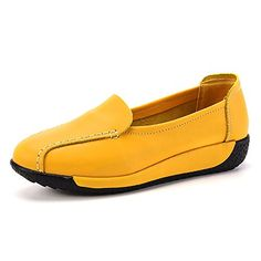 0d258f98ed4 SM Womens Women s Walking Shoes Shoe SlipOn Outdoor Leather Casual Shoes  yellow     Check out the image by visiting the link.