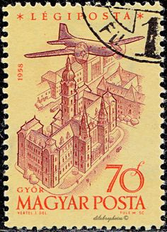 Hungary. Plane over Gyor. Scott C193 AP61, Issued 1958 Dec. 31, Engr., Wmk. 106, 70. /ldb.