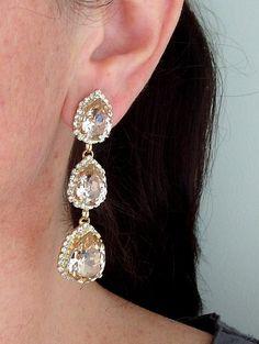 Blush earringsMorganite earringslong chandelier