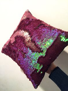 Sequin mermaid pillow! Double sides sequin pillows are now being made by Whirl & Dirvish Decor (Image linked to site). They've expanded their sparkles from hula hoops and clothing to home goods! Glitter home goods! We've all seen the $100 mermaid pillow but here is a way more affordable and reasonably priced version from the ladies who have been bringing you double sided sequin fabric since 2013! If you're looking for trendy home style or bohemian home style this is it.