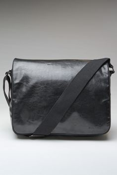 8th Line Wetlook (Faux Leather) Messenger Bag Black