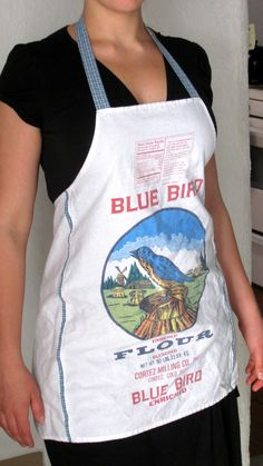 Image detail for -Upcycled Blue Bird Flour Apron With Light by GavilanTradingPost