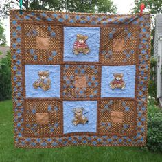 Handmade Baby Quilt Teddy Bears embroidered and pieced with flannel backing brown and blue #handmade #design