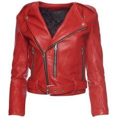 COLLECTION Marc Jacobs(RUNWAY)Marc Jacobs Cropped Leather Moto Jacket ($2,100) ❤ liked on Polyvore featuring outerwear, jackets, red biker jacket, real leather jacket, moto jacket, cropped jacket and motorcycle jacket