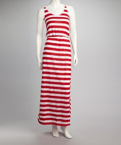 Take a look at this Red & White Sleeveless Maxi Dress by Clothing Showroom on #zulily today! $17.99, regular 40.00