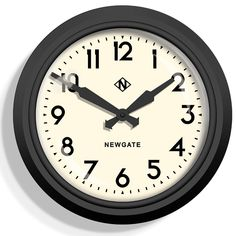 Buy the Electric Clock - Matt Black - White Dial from Newgate Clocks at AMARA. Electric Clock, Cool Clocks, Wall Clock Design, Vintage Theme, Mid Century Style, Contemporary Design, Style Icons, Black And White, Black Metal