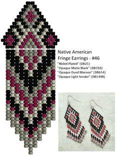 Linda's Crafty Inspirations: Native American Fringe Earrings #46 - Black, Grey & Maroon