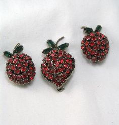 Magnificent Signed Warner Strawberry Brooch and Earring Set