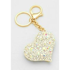 "Was $22 CRYSTAL PAVE HEART KEY CHAIN CRYSTAL PAVE HEART KEY CHAIN  COLOR  WHITE, GOLD  THEME  HEART / LOVE DETAILS  SIZE : 2.25"" W, 4.5"" L Accessories Key & Card Holders"