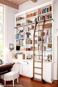 The emergence of various bookcase design is sometimes confusing for us to choose which bookshelves are good and suitable for your home space. Design a suitable shelf is the most preferred thing eve… Library Ladder, Library Wall, Library Shelves, Book Shelves, Mini Library, Home Library Design, House Design, Book Design, Modern Library