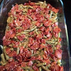 Super addicting green beans with bacon.