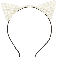 Charlotte Russe White Combo Pearl Cat Ears Headband by Charlotte Russe... ($6.99) ❤ liked on Polyvore featuring accessories, hair accessories, hats, white combo, pearl headband, charlotte russe, wrap headbands, white headband ve head wrap headband