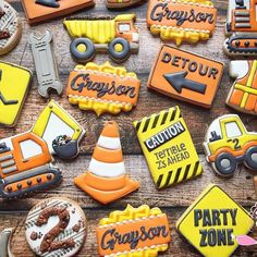 Construction cookies for Grayson's 2nd birthday. Thanks to @amy_cloughd9cookies and @lauracookieladypa for the inspiration.