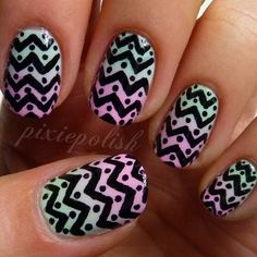 Printed Gradient Nail Art