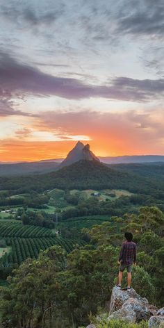 Sunrise in the Glasshouse Mountains - by /visitqueensland/