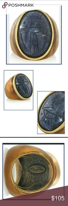 Oscar de la Renta Egyptian Revival Scarab Ring Coming Soon! (Estimated arrival date is 2/17) Oscar de la Renta Carved Blue Scarab Ring Inspired from ancient Egyptian amulets, this striking ring is 24K gold plated, has a blue carved semi-precious scarab stone, an enameled base, a designer stamped plaque and internal adjustable band.  It is a lovely addition to any ring collectors jewelry box. Please like or share and once available make an offer or hit buy now. Rock'N Ship is top rated and we…