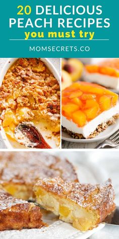 It's peach season! So I made a collection of peach recipes that include drinks, desserts, and more to help you celebrate this sweet summer fruit. #peach #peachrecipes #peachdessert Best Cake Recipes, Good Healthy Recipes, Candy Recipes, Healthy Desserts, Easy Desserts, Sweet Recipes, Dessert Recipes, Types Of Desserts, Sweet Desserts