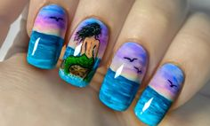 """How to paint a mermaid on a rock on your nails with nail polish and acrylic paint. https://www.youtube.com/watch?v=XuIc4yxL5do PRODUCTS I USED:DIY Peel-off base coatAlpine SnowMatte Top CoatAcrylic PaintRoubloff #00 and #1 brush""""Gel Look"""" Top Coat Prote"""
