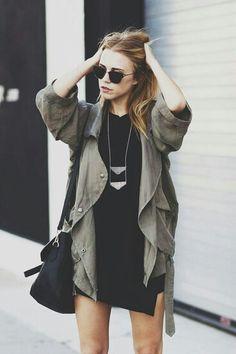 Khaki jackets and black dress - festival dressing