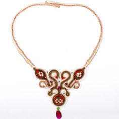 Oriental Silk and Silver- Soutache Necklace